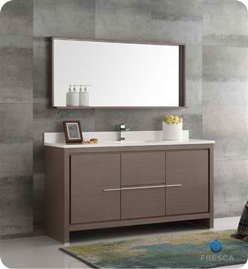 "60"" Modern Single Sink Bathroom Vanity with Mirror Gray Oak Finish"