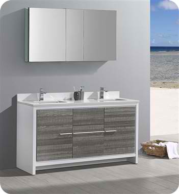 "60"" Double Sink Modern Bathroom Vanity with Medicine Cabinet, Ash Gray Finish"
