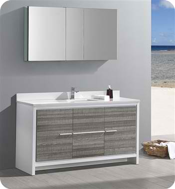 "60"" Single Sink Modern Bathroom Vanity with Medicine Cabinet, Ash Gray Finish"