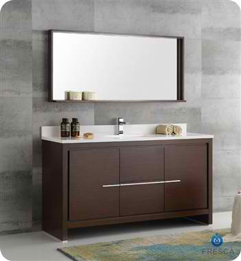 "60"" Modern Single Sink Bathroom Vanity with Mirror, Wenge Brown Finish"
