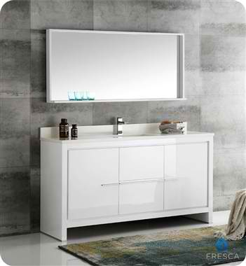 "60"" Modern Single Sink Bathroom Vanity with Mirror, White Finish"