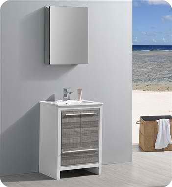 "24"" Modern Bathroom Vanity with Medicine Cabinet, Ash Gray Finish"