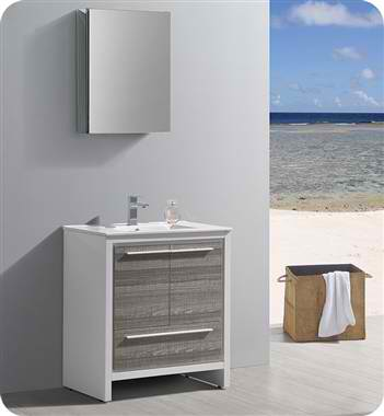 "30"" Modern Bathroom Vanity with Medicine Cabinet, Ash Gray Finish"