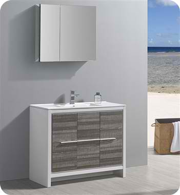 "40"" Modern Bathroom Vanity with Medicine Cabinet, Ash Gray Finish"