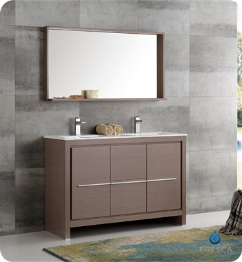 "48"" Gray Oak Modern Double Sink Bathroom Vanity with Faucet, Medicine Cabinet and Linen Side Cabinet Options"