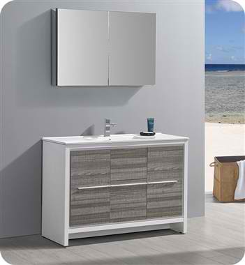 "48"" Single Sink Modern Bathroom Vanity with Medicine Cabinet, Ash Gray Finish"