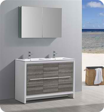 """48"""" Ash Gray Modern Double Sink Bathroom Vanity with Faucet, Medicine Cabinet and Linen Side Cabinet Options"""