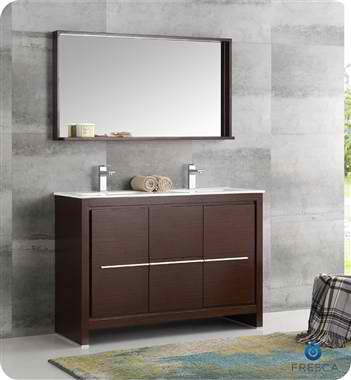 """48"""" Wenge Brown Modern Double Sink Bathroom Vanity with Faucet, Medicine Cabinet and Linen Side Cabinet Options"""