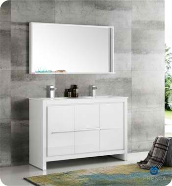 "48"" White Modern Double Sink Bathroom Vanity with Faucet, Medicine Cabinet and Linen Side Cabinet Options"