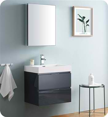 "24"" Wall Hung Modern Bathroom Vanity with Medicine Cabinet, Dark Slate Gray Finish"