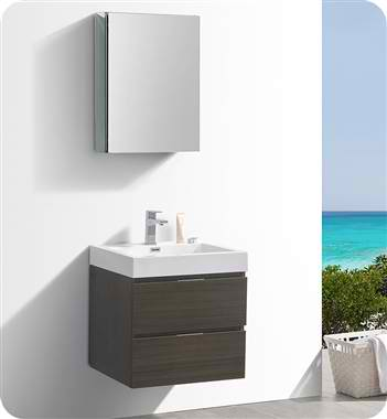 "24"" Wall Hung Modern Bathroom Vanity with Medicine Cabinet, Gray Oak Finish"