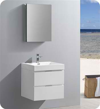 "24"" Wall Hung Modern Bathroom Vanity with Medicine Cabinet, Glossy White Finish"