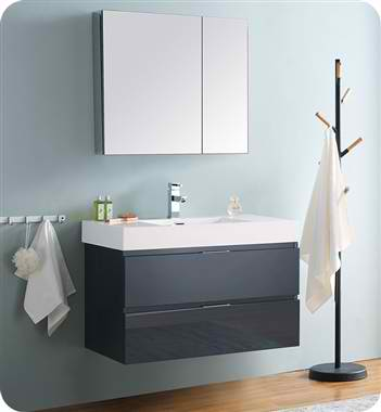 "Valencia 36"" Wall Hung Modern Bathroom Vanity with Medicine Cabinet, Dark Slate Gray Finish"