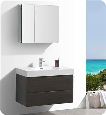"36"" Wall Hung Modern Bathroom Vanity with Medicine Cabinet, Gray Oak Finish"