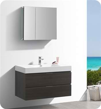 "40"" Wall Hung Modern Bathroom Vanity with Medicine Cabinet, Gray Oak Finish"