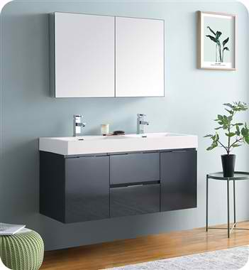 "Valencia 48"" Wall Hung Double Sink Modern Bathroom Vanity with Medicine Cabinet, Color and Faucet Option"