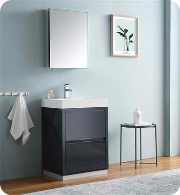 "Valencia 24"" Free Standing Modern Bathroom Vanity with Medicine Cabinet, Faucet and Color Options"