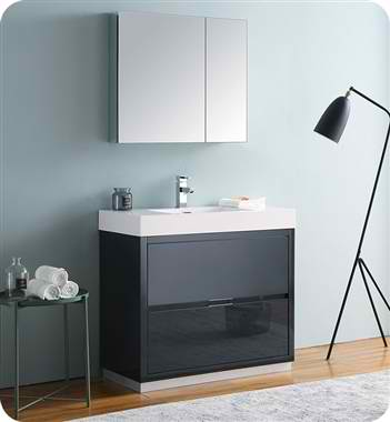 "Valencia 36"" Free Standing Modern Bathroom Vanity with Medicine Cabinet, Faucets and Color Options"