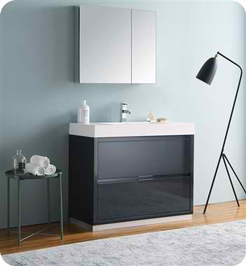 "Valencia 40"" Free Standing Modern Bathroom Vanity with Medicine Cabinet, Faucets and Color Options"