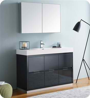 "Valencia 48"" Free Standing Modern Bathroom Vanity with Medicine Cabinet, Faucets and Color Options"
