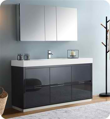 "Valencia 60"" Free Standing Modern Bathroom Vanity with Medicine Cabinet, Faucet and Color Options"