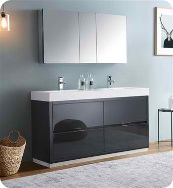 "Valencia 60"" Free Standing Double Sink Modern Bathroom Vanity with Medicine Cabinet, Faucets and Color Options"