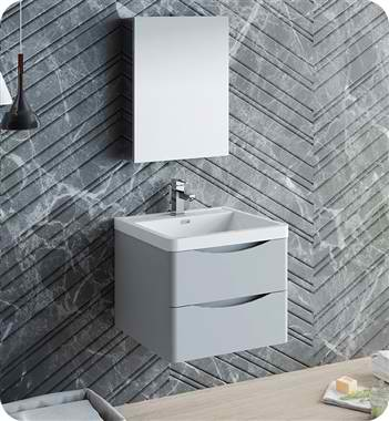 "24"" Wall Hung Modern Bathroom Vanity with Medicine Cabinet, Faucet and Color Options"