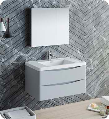 "36"" Wall Hung Modern Bathroom Vanity with Medicine Cabinet, Faucet and Color Options"