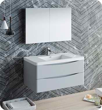 "40"" Wall Hung Modern Bathroom Vanity with Medicine Cabinet, Faucet and Color Options"