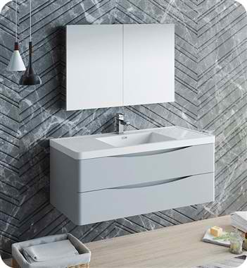 "48"" Wall Hung Modern Bathroom Vanity with Medicine Cabinet, Faucets and Color Options"