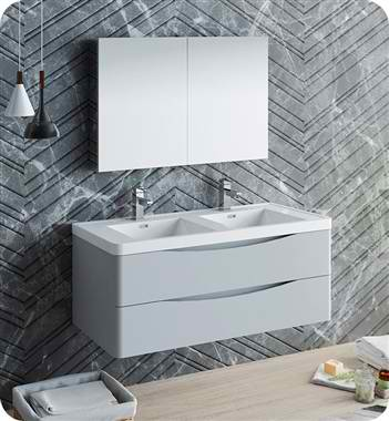"48"" Wall Hung Double Sink Modern Bathroom Vanity with Medicine Cabinet, Faucets and Color Option"