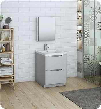 "Tuscany 24"" Free Standing Modern Bathroom Vanity with Medicine Cabinet, Faucets and Color Options"