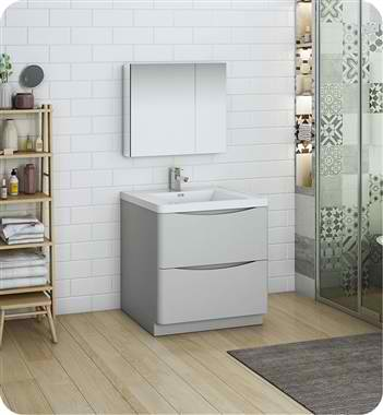 "Tuscany 32"" Free Standing Modern Bathroom Vanity with Medicine Cabinet"