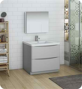 "36"" Free Standing Modern Bathroom Vanity with Medicine Cabinet, Faucets and Color Options"