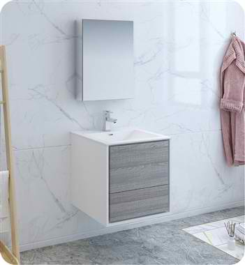 "24"" Wall Hung Modern Bathroom Vanity with Medicine Cabinet, Faucets and Color Options"