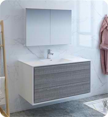 "Catania 48"" Wall Hung Modern Bathroom Vanity with Medicine Cabinet, Faucet and Color Options"
