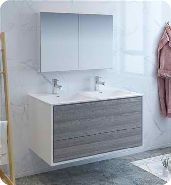 "Catania 48"" Wall Hung Double Sink Modern Bathroom Vanity with Medicine Cabinet, Faucets and Color Options"