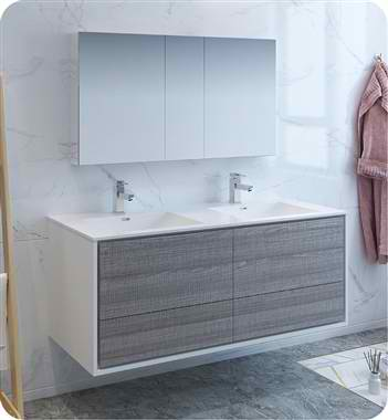"Catania 60"" Wall Hung Double Sink Modern Bathroom Vanity with Medicine Cabinet, Faucets and Color Options"