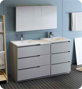 "60"" Free Standing Double Sink Modern Bathroom Vanity with Medicine Cabinet, Faucetes and Color Options"