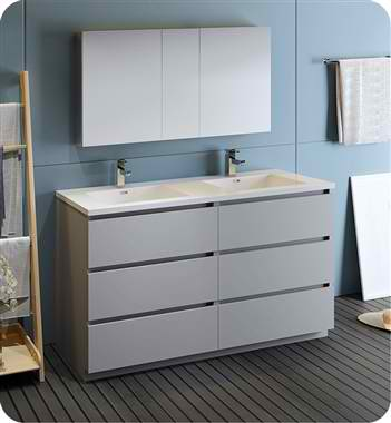 """Lazzaro 60"""" Gray Free Standing Double Sink Modern Bathroom Vanity with Medicine Cabinet, Faucet and Color Options"""