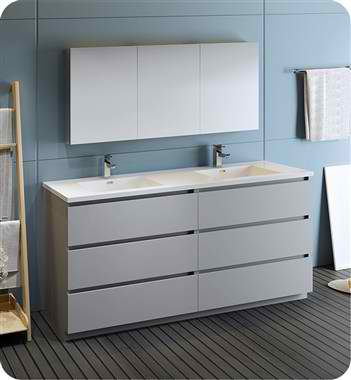 "Lazzaro 72"" Gray Free Standing Double Sink Modern Bathroom Vanity with Medicine Cabinet, Faucet and Color Options"