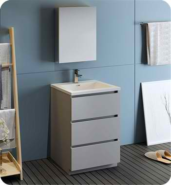 """Lazzaro 24"""" Free Standing Modern Bathroom Vanity with Medicine Cabinet, Faucets and Color Options"""
