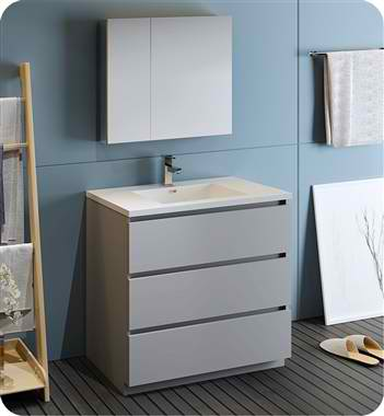 "36"" Free Standing Modern Bathroom Vanity with Medicine Cabinet, Faucet and Color Options"