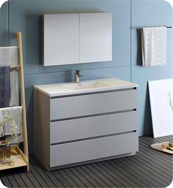 "Lazzaro 48"" Gray Free Standing Modern Bathroom Vanity with Medicine Cabinet, Faucet and Color Options"
