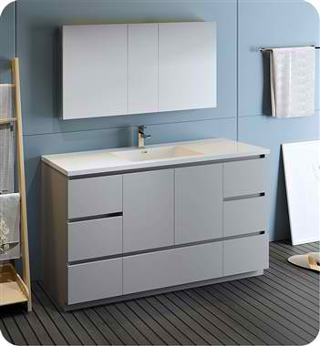 """60"""" Free Standing Single Sink Modern Bathroom Vanity with Medicine Cabinet, Faucet and Color Options"""