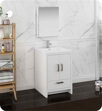 "24"" Free Standing Modern Bathroom Vanity with Medicine Cabinet, Faucet and Color Options"