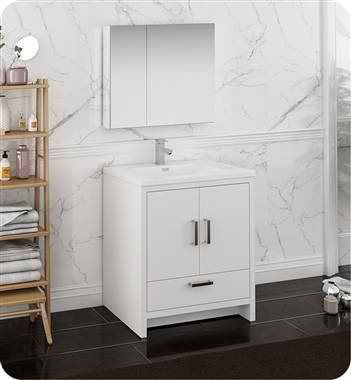 "30"" Free Standing Modern Bathroom Vanity with Medicine Cabinet, Faucets and Color Options"