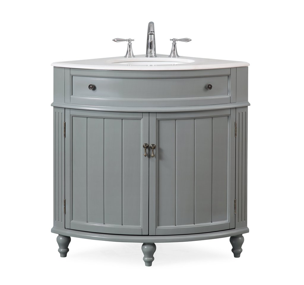 "24"" Gray Framhouse Corner Bathroom Vanity with White Marble Countertop"