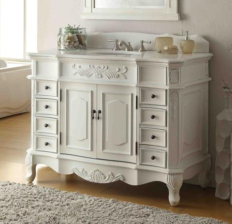 42 inch Adelina Antique White Bathroom Vanity, Fully Assembled