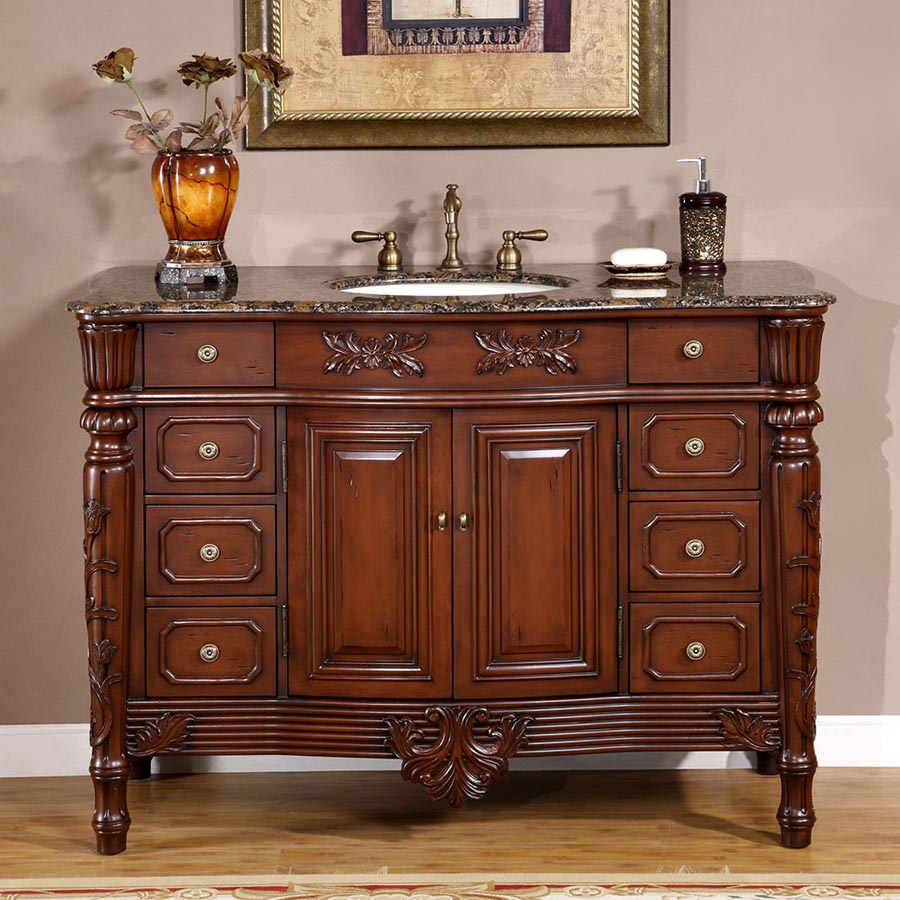 """48"""" Single Sink Cabinet - Baltic Brown Top, Undermount Ivory Ceramic Sink (3-hole)"""